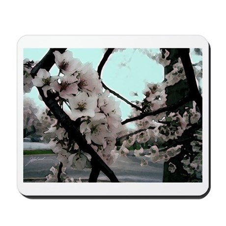 cherry blossoms white Mousepad