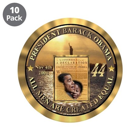 """14kt Gold 44th Presidential Buttons 3.5"""" Button (1"""