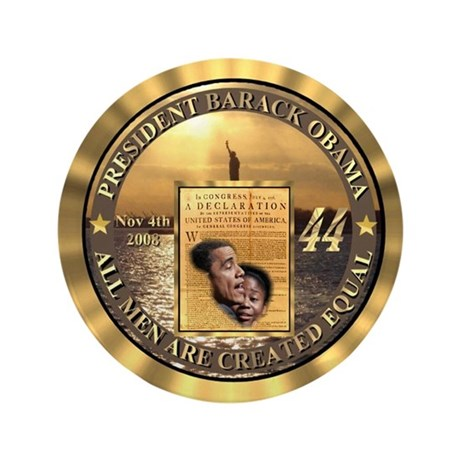 """14kt Gold 44th Presidential Buttons 3.5"""" Button"""