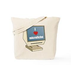 I Love Microfiche Tote Bag