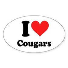 I Heart Cougars: Oval Decal