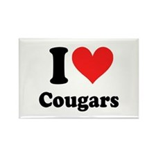 I Heart Cougars: Rectangle Magnet