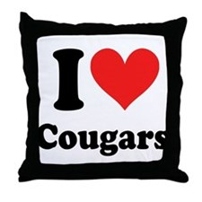 I Heart Cougars: Throw Pillow