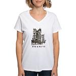 Vintage France Women's V-Neck T-Shirt