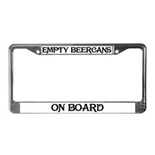 Empty Beercans on Board License Plate Frame