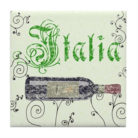 Italian Wine Bottle Tile Coaster