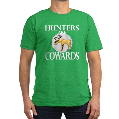 Hunters are cowards Men's Fitted T-Shirt (dark)