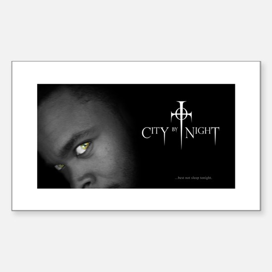 City By Night Rectangle Decal