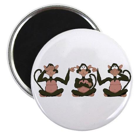 """3 Monkeys! 2.25"""" Magnet (10 pack)"""