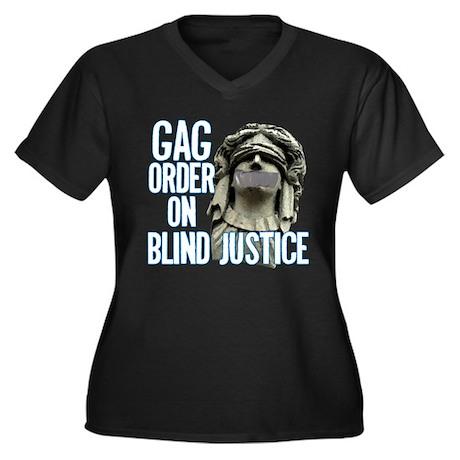Blind Justice Women's Plus Size V-Neck Dark T-Shir