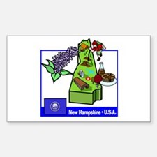 New Hampshire Map Rectangle Decal