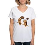 musical owls Women's V-Neck T-Shirt