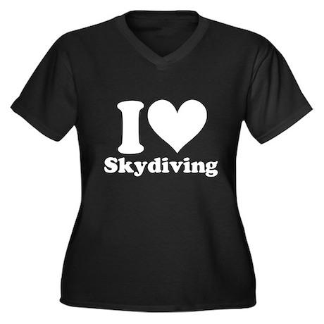 I Heart Skydiving: Women's Plus Size V-Neck Dark T