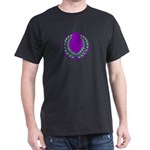 Purple with green laurel Black T-Shirt