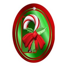 Candy Cane Oval Ornament
