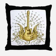 Golden Winged Guitar Throw Pillow