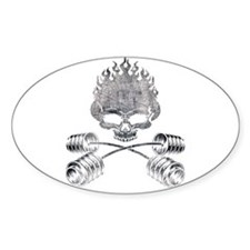 BARBELL CROSSBONES Oval Bumper Stickers