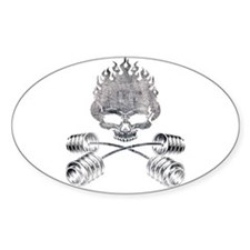 BARBELL CROSSBONES Oval Decal
