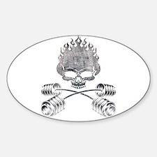 BARBELL CROSSBONES Oval Decal