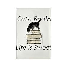Cat on Books Rectangle Magnet