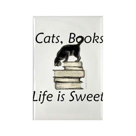 Cat on Books Rectangle Magnet