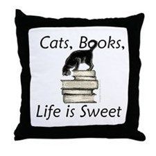 Cat on Books Throw Pillow