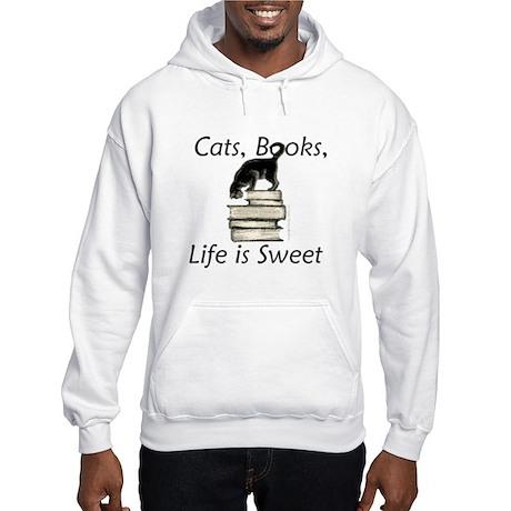 Cat on Books Hooded Sweatshirt