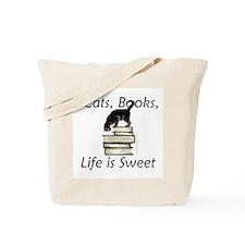 Cat on Books Tote Bag