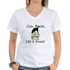 Cat on Books Shirt