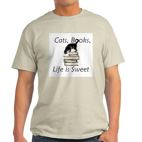 Cat on Books Light T-Shirt
