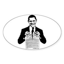 Obama Destroying Constitution Oval Decal