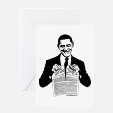Obama Destroying Constitution Greeting Card
