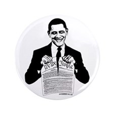 "Obama Destroying Constitution 3.5"" Button (10"
