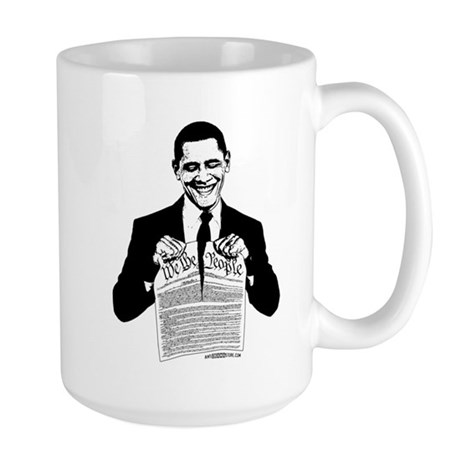 Obama Destroying Constitution Large Mug