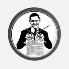 Obama Destroying Constitution Wall Clock