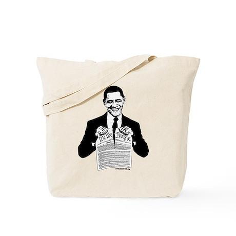Obama Destroying Constitution Tote Bag