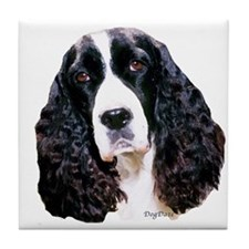 springer spaniel portrait Tile Coaster