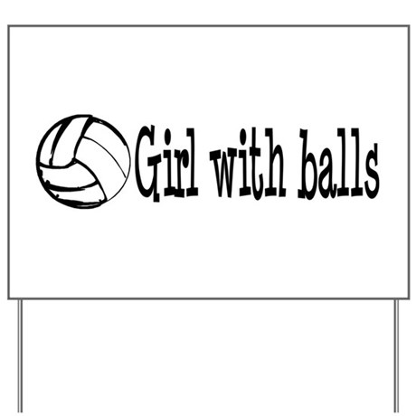Girl With Balls Volleyball Yard Sign
