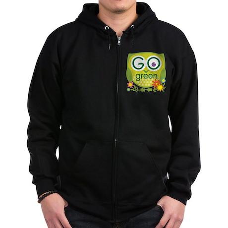 Go Green Owl Zip Hoodie (dark)