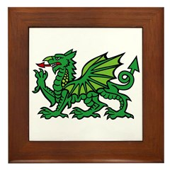 Green Dragon Framed Tile