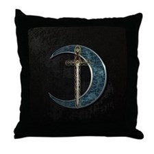 Colorful Celtic Moon and Swor Throw Pillow