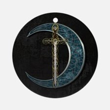 Colorful Celtic Moon and Swor Ornament (Round)