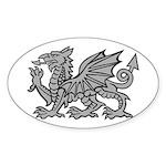 Grey Dragon Oval Sticker