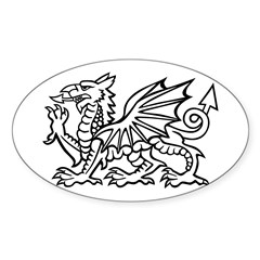 White Dragon Oval Decal