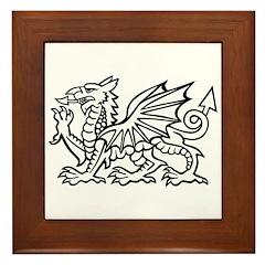 White Dragon Framed Tile