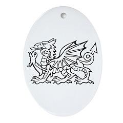White Dragon Oval Ornament