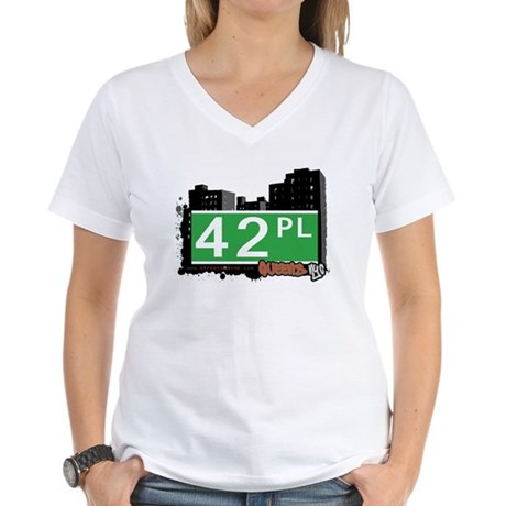 42 PLACE, QUEENS, NYC Women's V-Neck T-Shirt