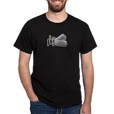 Grandmother Dog Tags Black T-Shirt