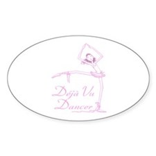 Pink INK Deja Vu Dance on White Oval Decal