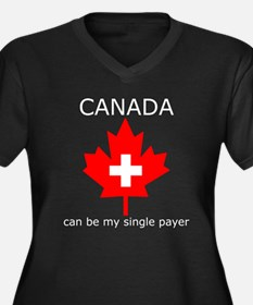 Canada Single Payer Women's Plus Size V-Neck Dark